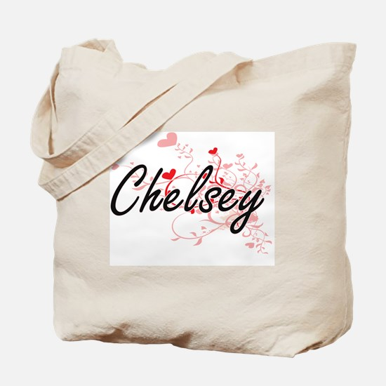 Chelsey Artistic Name Design with Hearts Tote Bag