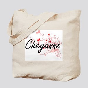 Cheyanne Artistic Name Design with Hearts Tote Bag