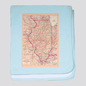 Vintage Map of Illinois (1874) baby blanket