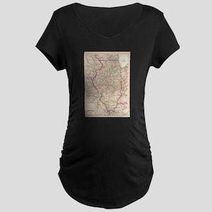 Vintage Map of Illinois (1874) Maternity T-Shirt