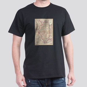 Vintage Map of Illinois (1874) T-Shirt
