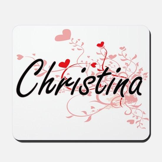 Christina Artistic Name Design with Hear Mousepad
