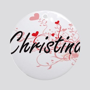Christina Artistic Name Design wi Ornament (Round)