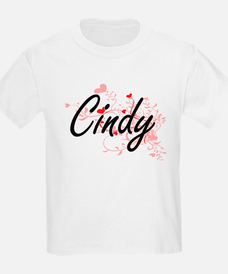 Cindy Artistic Name Design with Hearts T-Shirt