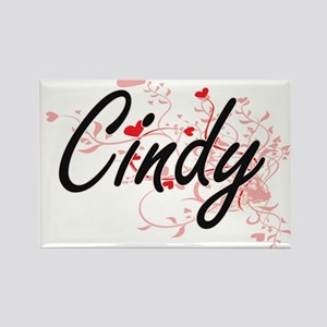 Cindy Artistic Name Design with Hearts Magnets