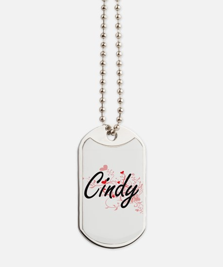 Cindy Artistic Name Design with Hearts Dog Tags