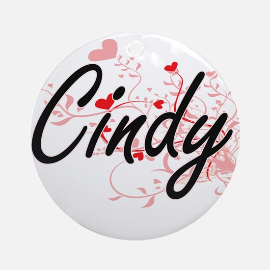 Cindy Artistic Name Design with H Ornament (Round)