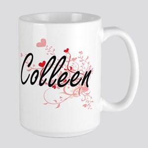 Colleen Artistic Name Design with Hearts Mugs