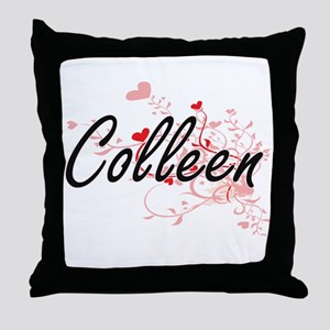 Colleen Artistic Name Design with Hea Throw Pillow