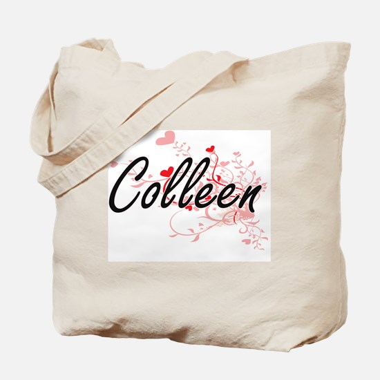 Colleen Artistic Name Design with Hearts Tote Bag