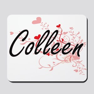 Colleen Artistic Name Design with Hearts Mousepad