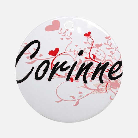 Corinne Artistic Name Design with Ornament (Round)