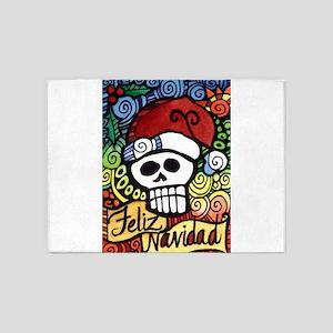 Day of the Dead Feliz Navidad Sugar 5'x7'Area Rug