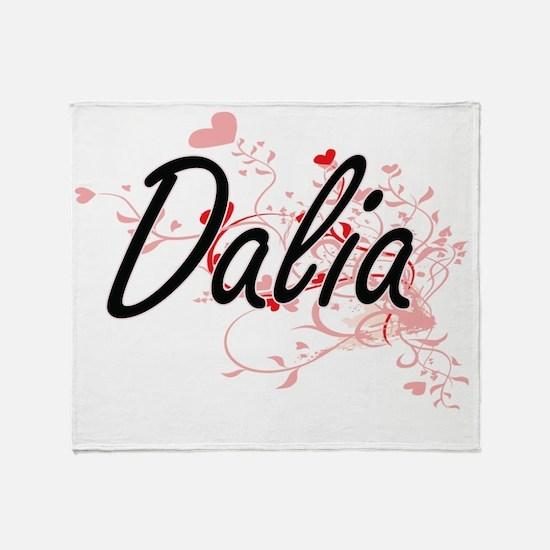 Dalia Artistic Name Design with Hear Throw Blanket