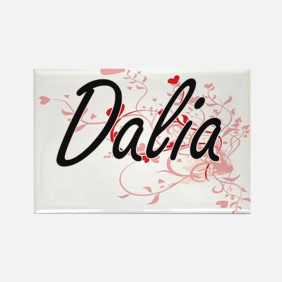 Dalia Artistic Name Design with Hearts Magnets