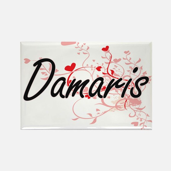 Damaris Artistic Name Design with Hearts Magnets