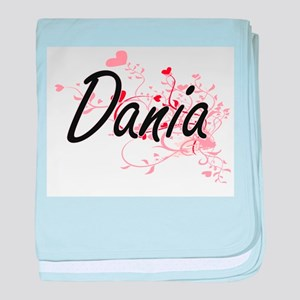 Dania Artistic Name Design with Heart baby blanket
