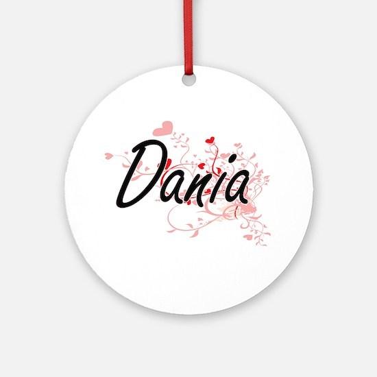 Dania Artistic Name Design with H Ornament (Round)