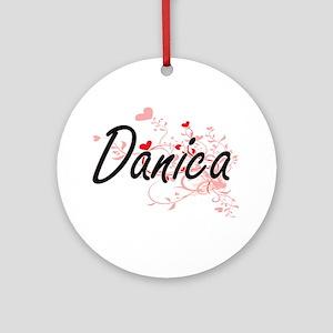 Danica Artistic Name Design with Ornament (Round)