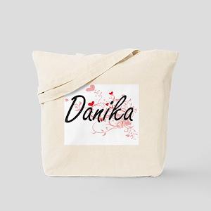 Danika Artistic Name Design with Hearts Tote Bag