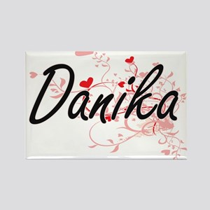 Danika Artistic Name Design with Hearts Magnets