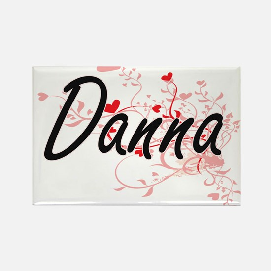 Danna Artistic Name Design with Hearts Magnets