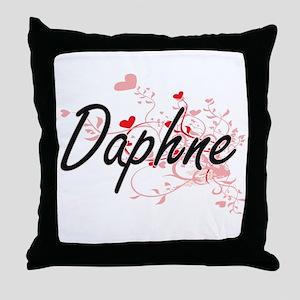 Daphne Artistic Name Design with Hear Throw Pillow