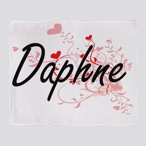 Daphne Artistic Name Design with Hea Throw Blanket