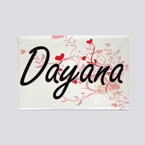 Dayana Artistic Name Design with Hearts Magnets