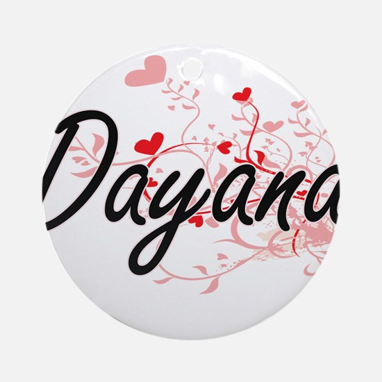 Dayana Artistic Name Design with Ornament (Round)
