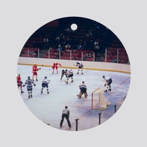 Vintage Ice Hockey Match Ornament (Round)
