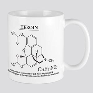 heroin: Chemical structure and formula Mugs
