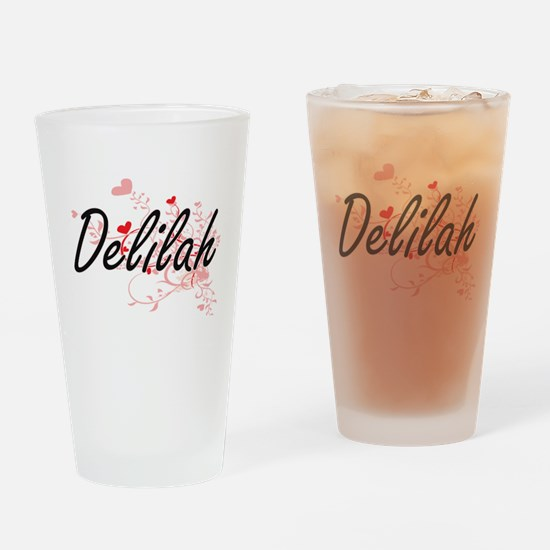 Delilah Artistic Name Design with H Drinking Glass