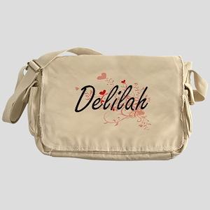 Delilah Artistic Name Design with He Messenger Bag