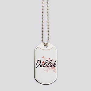 Delilah Artistic Name Design with Hearts Dog Tags