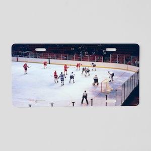Vintage Ice Hockey Match Aluminum License Plate