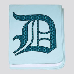 D letter monogram Old english text baby blanket