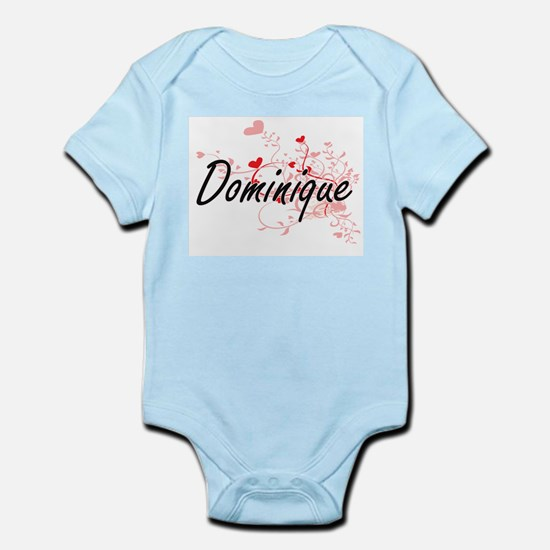 Dominique Artistic Name Design with Hear Body Suit