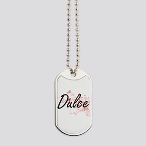 Dulce Artistic Name Design with Hearts Dog Tags