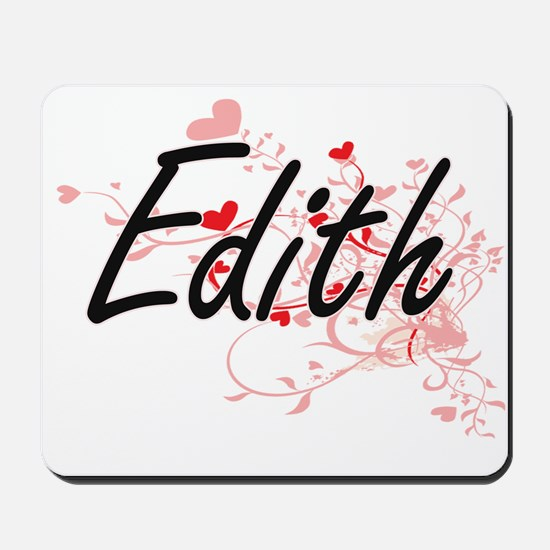 Edith Artistic Name Design with Hearts Mousepad