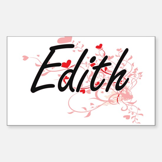 Edith Artistic Name Design with Hearts Decal