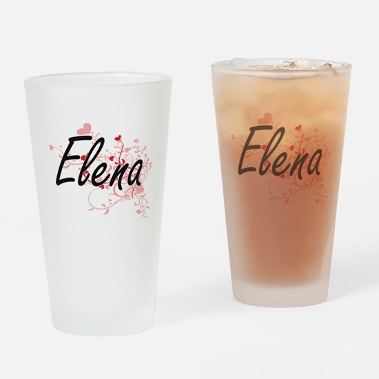Elena Artistic Name Design with Hea Drinking Glass