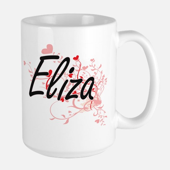 Eliza Artistic Name Design with Hearts Mugs