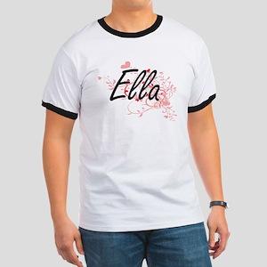 Ella Artistic Name Design with Hearts T-Shirt