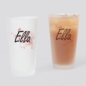Ella Artistic Name Design with Hear Drinking Glass