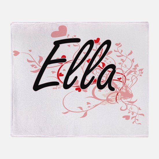 Ella Artistic Name Design with Heart Throw Blanket