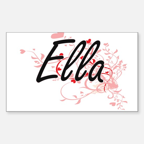 Ella Artistic Name Design with Hearts Decal