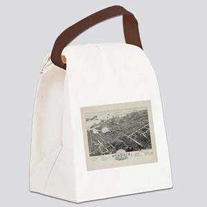 Vintage Pictorial Map of Hyannis Canvas Lunch Bag