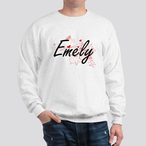 Emely Artistic Name Design with Hearts Sweatshirt