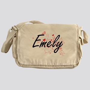 Emely Artistic Name Design with Hear Messenger Bag